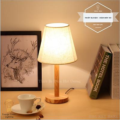 Đèn ngủ để bàn thân gỗ choá vải kiểu dáng cổ điển TN866 + Tặng kèm bóng led 3w - Đèn bàn cao 40cm trang trí decor căn phòng