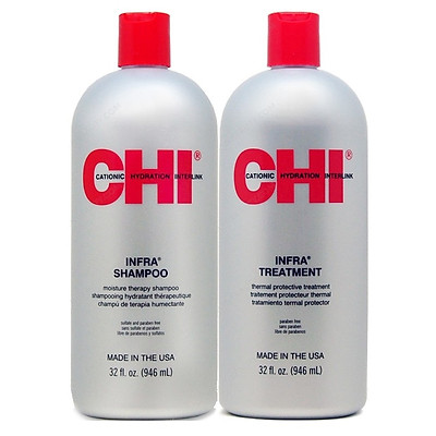 Cặp dầu gội xả CHI Infra shampoo & treatment siêu mượt cho tóc khô hư tổn (xám) Mỹ 946ml