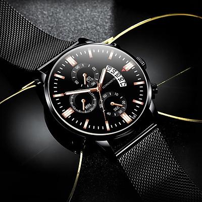 Đồng hồ nam cao cấp ECONOMICXI chính hãng dây thép lưới đen có lịch ngày - Đẳng Cấp Phái Mạnh ECNS89