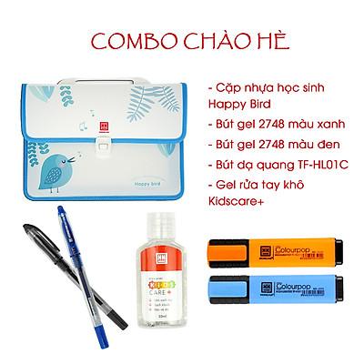 Combo đồ dùng học tập 15 món cặp nhựa, bút bi, bút dạ quang, gel rửa tay
