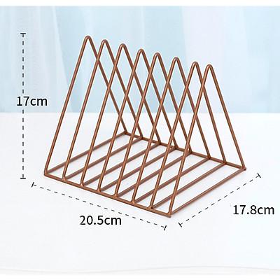 Giá đựng sách báo, tạp chí để bàn hình tam giác bằng sắt phong cách Bắc Âu
