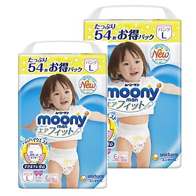 [Combo 2] Bỉm - Tã quần Moony Blue Jumbo size L Bé gái 54 miếng (Cho bé 9~14kg)