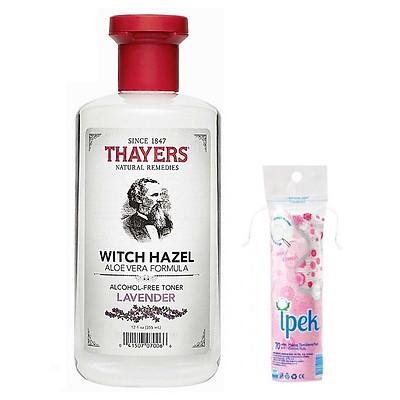 Nước Hoa Hồng Không Chứa Cồn Thayers Alcohol Free Witch Hazel Toner Lavender 355ml + Tặng kèm bông tẩy trang Ipek 80 miếng