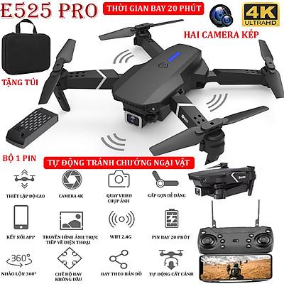 (NEW 2021 - BỘ 2 PIN) - TẶNG TÚI ĐỰNG- Flycam mini E525 PRO 4K hai camera kép, tự động tránh chướng ngại vật ba hướng, thời gian bay 18 phút, có thể zoom, phong to ảnh, chế độ bay không đầu - nhào lộn 360°