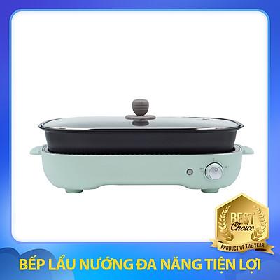 Bếp Lẩu Nướng Đa Năng 3in1 Màu Xanh 4L Tiện Lợi, Tích Hợp 3 Khay: Nướng, Lẩu và Làm Bánh
