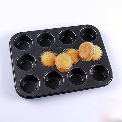 Khuôn chống dính nướng bánh cupcake 12 ô mini