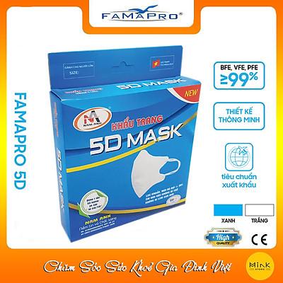 [HỘP - FAMAPRO 5D MASK] - Khẩu trang y tế kháng khuẩn 3 lớp Famapro 5D Mask (10 cái/ hộp)
