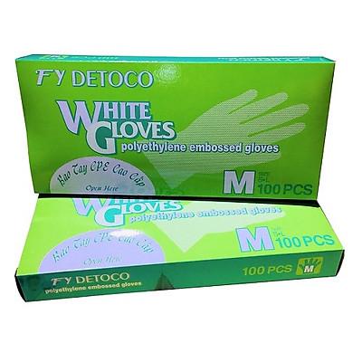 Combo 2 hộp găng tay thực phẩm Detoco size M 100 cái/hộp, chế biến thực phẩm, dược phẩm, phòng thí nghiệm, Y tế.