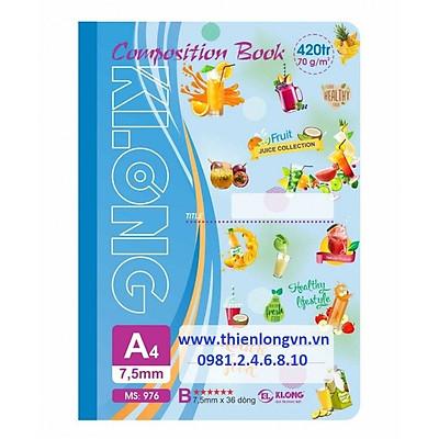Sổ may dán gáy A4 - 420 trang; Klong 976 xanh biển