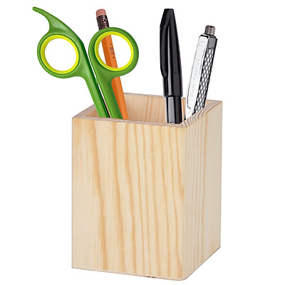 Hộp cắm bút để bàn bằng gỗ tự nhiên (NPH02) thân thiện môi trường, ống cắm bút viết