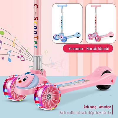 Xe Trượt Scooter Cho Bé - Có Đèn Led Phát Sáng - Phát Nhạc - Dành Cho Trẻ Em Từ 3 - 15 Tuổi, chất liệu nhựa PP thân thiện môi trường, gọn nhẹ, dễ dang mang theo