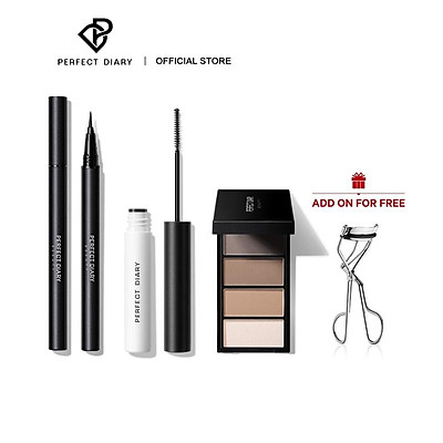 Set Mascara+Bút Kẻ Mắt+Chì kẻ chân mày Perfect Diary makeup set for beginner 8g