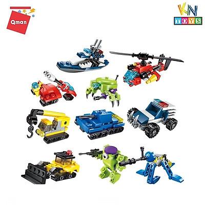 Đồ chơi lắp ráp, xếp hình lego Qman 10 in 1 (Combo 10 hộp) Qman 2101/2102/2103/2104 – mô hình xe, máy bay, thú, khủng long