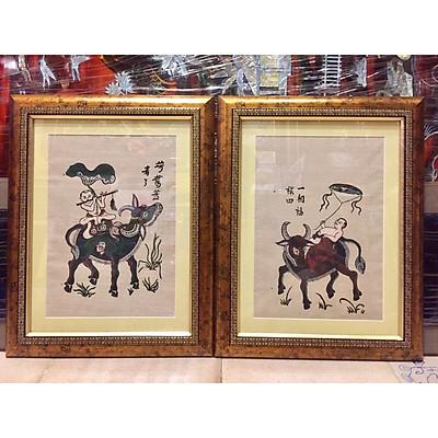 Bộ 2 tấm tranh dân gian đông hồ, trăn trâu thả diều, thổi sáo (38x48cm)