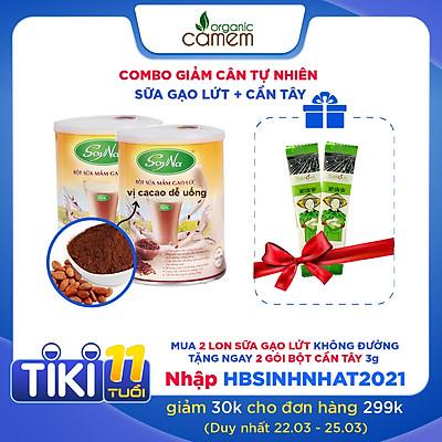 Combo 02 bột sữa mầm gạo lức SoyNa không đường