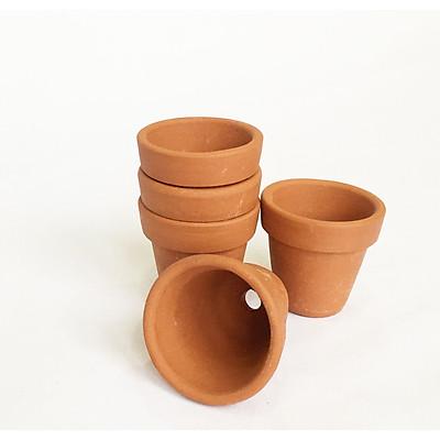 Combo 5 Chậu đất nung mini có lỗ xinh xắn, vintage làm chậu trồng sen đá, xương rồng, hoa handmade