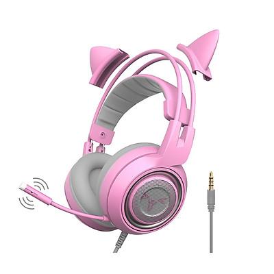 Tai nghe chơi game Somic G951S Pink với tai mèo và jack cắm 3.5 - Hàng chính hãng