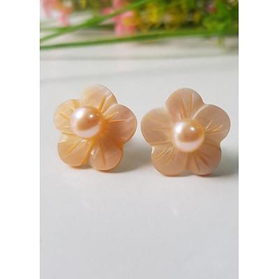 Bông Khuyên Tai Ngọc Trai Kiểu Nụ Hoa đào - Trang Sức Cô Tấm - Peach Pearl(6ly) - CTJ6906