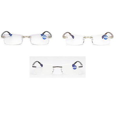 Men Framless Diamond-cut Reading Glasses with Anti-blue Light Lens