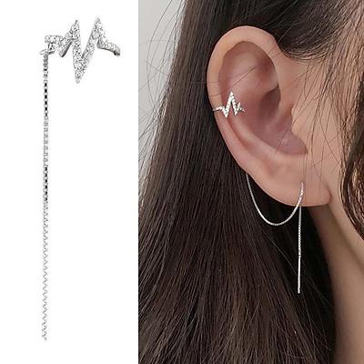 Bông tai nữ Miuu Silver, khuyên tai bạc dáng dài kẹp vành Heartbeat Earcuff