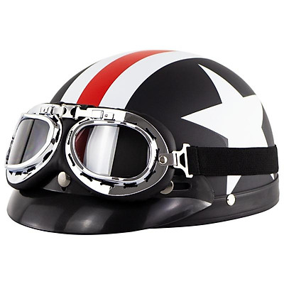 Retro Style Sunscreen Helmet Half Helmet With Goggles For Motorcycle Electric Bike