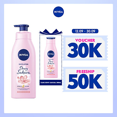 [Mua 1 tặng 1] Tặng Dewy Sakura 200ml - Sữa Dưỡng Thể Dưỡng Trắng NIVEA Hương Anh Đào Dewy Sakura (350ml) - 85703