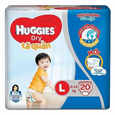 Tã quần Huggies Dry size L ( 20 miếng cho bé 9-14kg - HSD luôn mới)