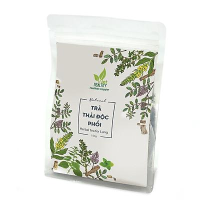 Trà thải độc phổi Viet Healthy 150g, thành phần gồm: Lá thảo bản bông vàng (Mullein leaf), Cam thảo (Licorice), Lá húng tây (Thyme), Lá bạc hà (Peppermint), Kế sữa (Nettles), bảo vệ, thanh lọc, cải thiện chức năng phổi