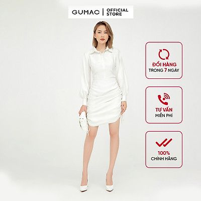 Đầm sơ mi nữ dáng ôm thiết kế rút sườn kết hợp tay dài phối măng sết GUMAC DB5125