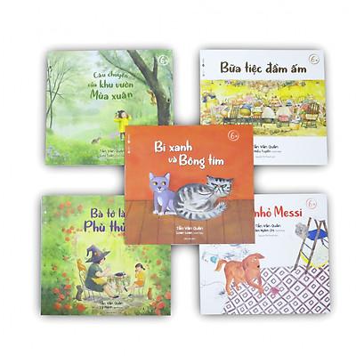 Combo 05 cuốn ehon cho bé 6+ Ấm áp: Bữa tiệc đầm ấm + Bà tớ là phù thủy + Câu chuyện của khu vườn mà xuân + Bi xanh và bông tím + Chú chó nhỏ Messi