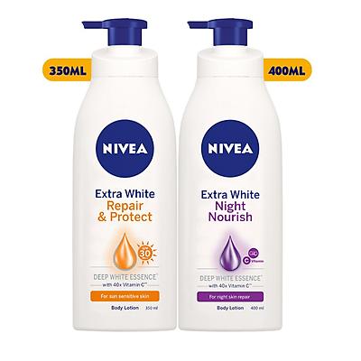 Combo Dưỡng thể trắng da Nivea: Chai ban ngày SPF30PA++350ml+Chai ban đêm bổ sung Collagen 400ml