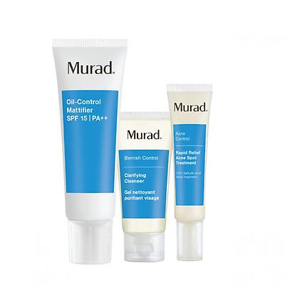 Bộ kem dưỡng chống nắng cho da mụn Murad (Oil-Control Mattifier SPF 15 PA++ 50ml + Srm Clarifying Cleanser 45ml + gel giảm mụn Rapid Relief Acne Spot Treatment 15ml)