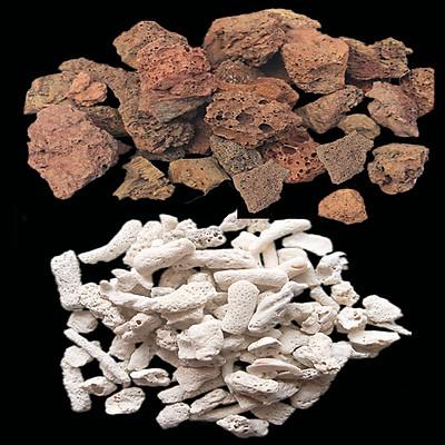 Combo đá nham thạch (1kg) + san hô vụn (1kg) vật liệu lọc, trang trí bể cá