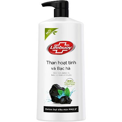 Sữa tắm detox Lifebuoy Than hoạt tính & Bạc hà 850g chiết xuất từ thiên nhiên ngừa mùi cơ thể và sạch sâu khỏi bụi mịn
