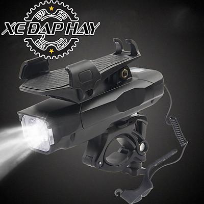 Đèn Còi Xe Đạp HJ068 | Còi 120 dB, Led Siêu Sáng, Giá để điện thoại kiêm Sạc dự phòng 4000 mAh