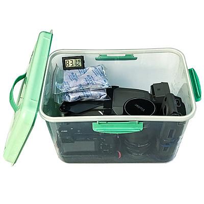 Combo hộp chống ẩm máy ảnh, flycam 10 lít (ẩm kế điện tử, 200g hạt hút ẩm xanh, tặng mút xốp) - Hàng chính hãng