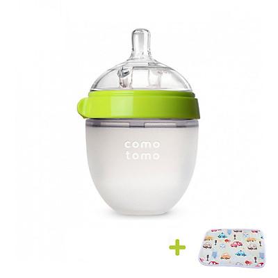 Bình Sữa cho bé 150ml. Bình Sữa Silicone Comotomo chính hãng - Tặng kèm tấm lót chống thấm cho bé
