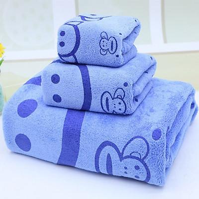 Bộ 3 Khăn Tắm 1M4 (khăn mặt, khăn lau đầu, khăn tắm - giao màu ngẫu nhiên)