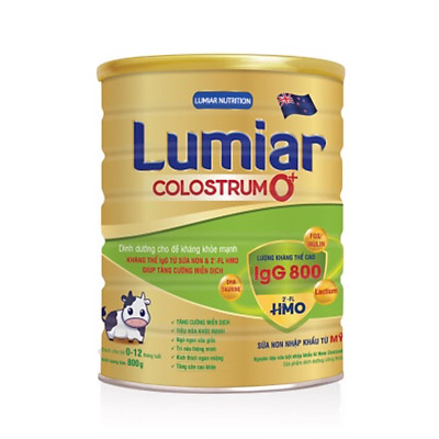 Sữa bột Lumiar Colostrum 0+ 800g - Dinh dưỡng cho đề kháng khỏe mạnh, kháng thể IgG từ sữa non & 2′-FL HMO giúp tăng cường miễn dịch.