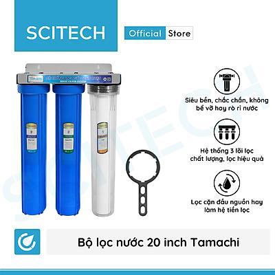 Bộ lọc nước thô đầu nguồn 3 cấp lọc 20 inch by Scitech - Hàng chính hãng