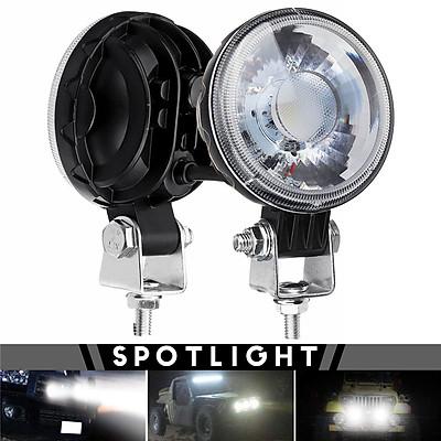2pcs/set(3inch) 18W LED COB Motorcycle Spotlight Sidelight Work Light Headlight SPOT Beam IP68 Waterproof Aluminum DC12-60V 6500K Universal For Car Motorcycle-WHITE
