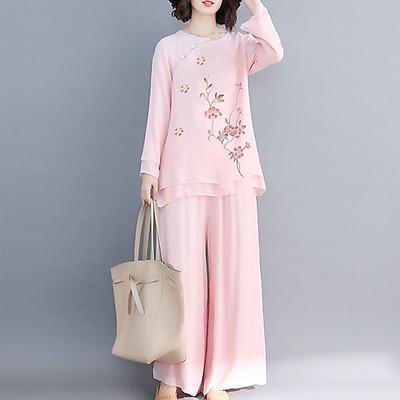 Trang phục đi lễ chùa tập thiền & yoga, tụng kinh, tập khí công, múa cổ trang cổ tròn hồng cánh hoa Thiền Chay