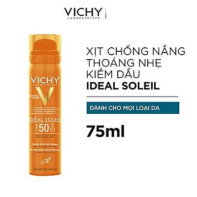 Xịt Khoáng Chống Nắng Giảm Dầu Khô Ráo Và Không Gây Nhờn Rít SPF 50 PA+++ UVA & UVB Vichy Ideal Soleil 75ml