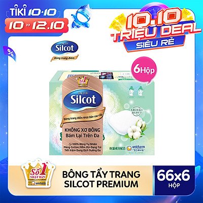 Combo 6 hộp bông tẩy trang cao cấp Silcot Premium 66 miếng/hộp