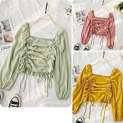 Áo kiểu nữ, áo nữ dây rút cổ vuông nhiều màu đủ size S M L New Brand A-35
