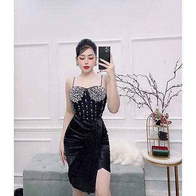 Đầm body dự tiệc 2 dây kết cườm TRIPBLE T DRESS - size M/L ( kèm ảnh/ video thật ) MS150Y