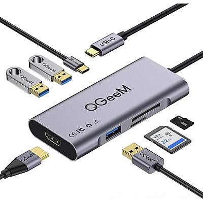 Bộ Hub USB C QGeeM 7 trong 1 4K Type C sang HDMI, 3 x USB 3.0, 1 x USB-C sạc nhanh PD 100w, 1 khe đọc thẻ SD&TF tương thích với MacBook Pro 13/15 (Thunderbolt 3), 2018 Mac Air, Chromebook Type C Adapter - Hàng Chính Hãng