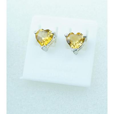 Bông tai nữ đá citrine tự nhiên vàng 5.5mm mài giác trái tim
