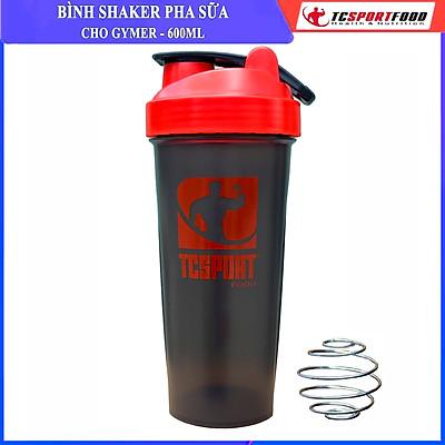 Bình lắc Shaker pha sữa cho người tập GYM hiệu TCSPORTFOOD - Bình nước thể thao Shaker 600 ml - Màu đen nắp đỏ