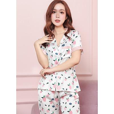 Bộ pijama lụa cao cấp tay cộc quần dài họa tiết quả đào H071